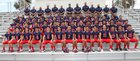Veterans Memorial Chargers Boys Varsity Football Fall 17-18 team photo.