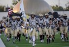 Andrews Mustangs Boys Varsity Football Fall 17-18 team photo.