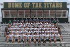 Blessed Trinity Titans Boys Varsity Football Fall 17-18 team photo.