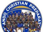 Orlando Christian Prep Warriors Boys Varsity Football Fall 17-18 team photo.