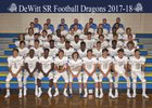 DeWitt Dragons Boys Varsity Football Fall 17-18 team photo.
