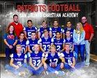 San Jacinto Christian Academy Patriots Boys Varsity Football Fall 17-18 team photo.