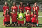 The Rock Lions Girls Varsity Soccer Spring 17-18 team photo.