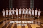Rigby Trojans Boys Varsity Basketball Winter 18-19 team photo.