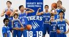 Battle Creek Academy Tigers Boys Varsity Basketball Winter 18-19 team photo.
