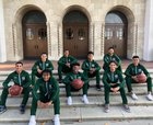 Notre Dame Titans Boys Varsity Basketball Winter 18-19 team photo.