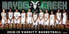Mayde Creek Rams Boys Varsity Basketball Winter 18-19 team photo.