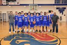 Seattle Lutheran Saints Boys Varsity Basketball Winter 18-19 team photo.