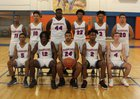 Louisburg Warriors Boys Varsity Basketball Winter 18-19 team photo.