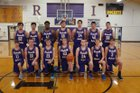 Rushville-Industry Rockets Boys Varsity Basketball Winter 18-19 team photo.