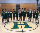 Huntington Highlanders Boys Varsity Basketball Winter 18-19 team photo.