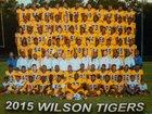 Wilson Tigers Boys Varsity Football Fall 15-16 team photo.