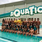 Rancho Alamitos Vaqueros Girls Varsity Swimming Spring 17-18 team photo.